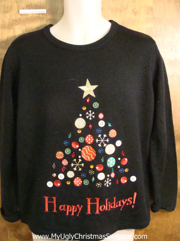 HAPPY HOLIDAYS Tree Tacky Bad Christmas Sweater