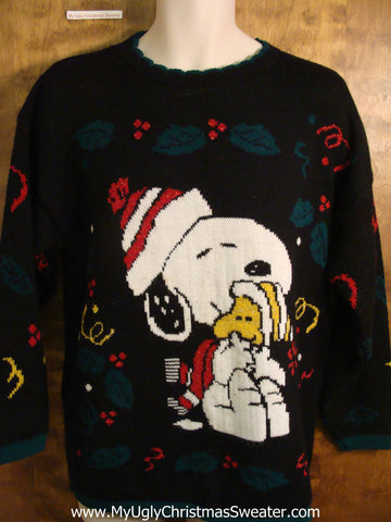 Snoopy and Woodstock 80s Tacky Christmas Sweater
