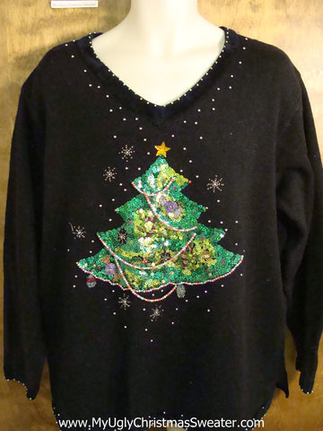 Tacky Green Bling Tree Bad Christmas Sweater