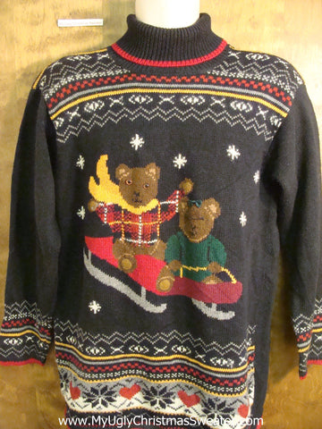 Sledding Bears 80s Tacky Bad Christmas Sweater