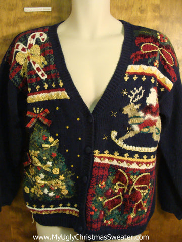 Busy 80s Rocking Horse Tacky Bad Christmas Sweater