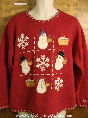 Tic Tac Toe Snowmen Tacky Bad Christmas Sweater