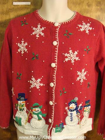 Cute Snowman Family 2sided Christmas Sweater