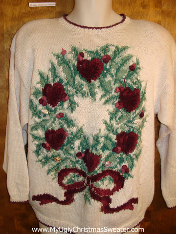 Horrible 80s Poinsettia Hearts Wreath Bad Christmas Sweater
