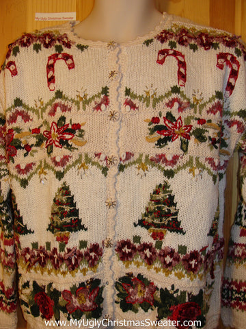 Tacky Ugly Christmas Sweater with 2sided Busy Festive Horrid Designs 80s Style (f414)