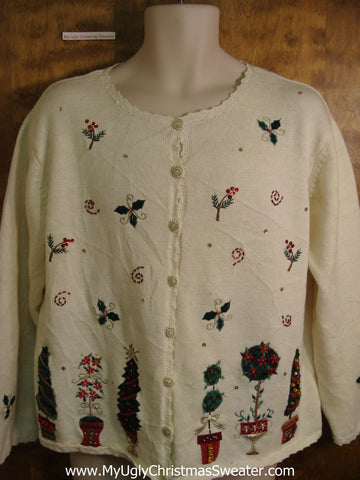 Tacky Ivory Bad Christmas Sweater with Trees