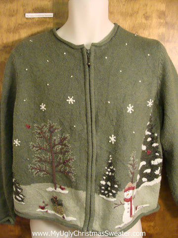 Green Winter Wonderland with Snowman Christmas Sweater