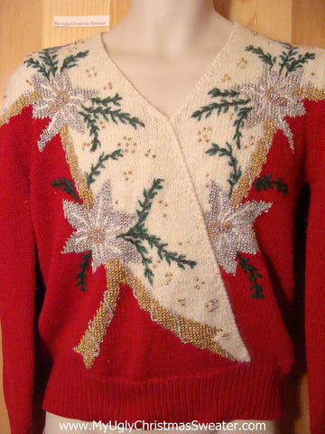 Tacky Ugly Christmas Sweater  with Poinsettias that Look Like Palm Trees (f416)
