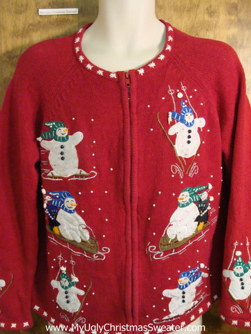 Funny Sporty Snowmen Tacky Bad Christmas Sweater