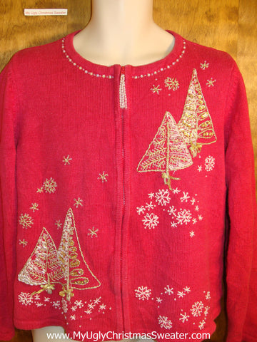 Cheap Red Tacky Bad Christmas Sweater with Trees