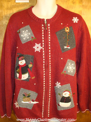 Crafty Red Tacky Bad Christmas Sweater
