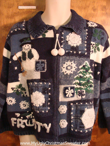 FROSTY Cute Blue Tacky Bad Christmas Sweater