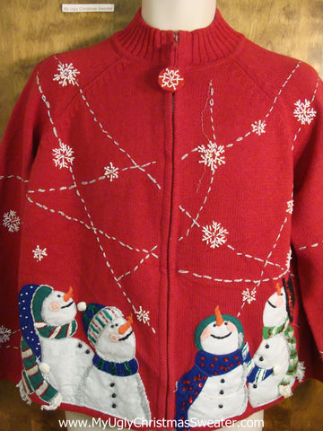 Snowman Foursome Tacky Bad Christmas Sweater