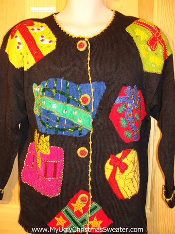 Tacky Ugly Christmas Sweater 80s Masterpiece with Major Bling Gifts and Padded Shoulders (f417)