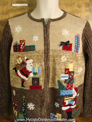 Busy Santa Stacking Gifts Ugly Christmas Sweater