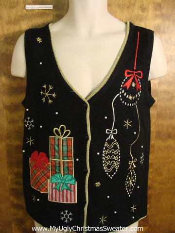 Cheap Black Tacky Bad Christmas Sweater Vest