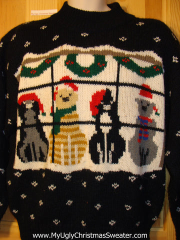 Tacky Ugly Christmas Sweater 2sided 80s Gem with Cats (f418)