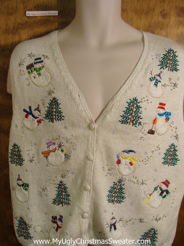 Super Cute Snowman Themed Christmas Sweater Vest