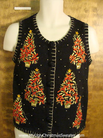 Horrible Trees Tacky Bad Christmas Sweater Vest
