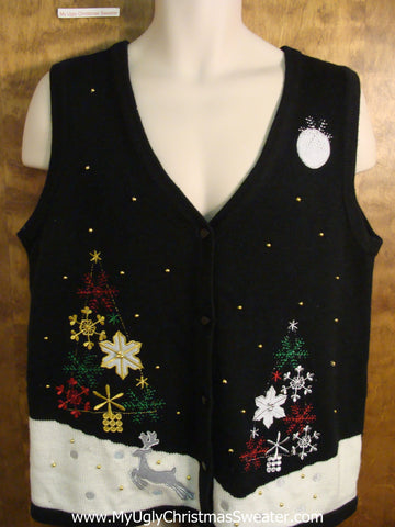 Little Reindeer in the Snow Tacky Bad Christmas Sweater Vest