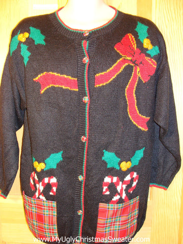 Tacky Ugly Christmas Sweater with Crafty Plaid Pockets and Bow and Candycane 80s Classic  (f419)