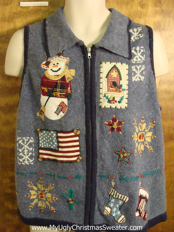 Patriotic Blue Ugliest Christmas Sweater Vest