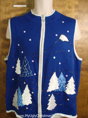 Bright Blue Ugliest Christmas Sweater Vest