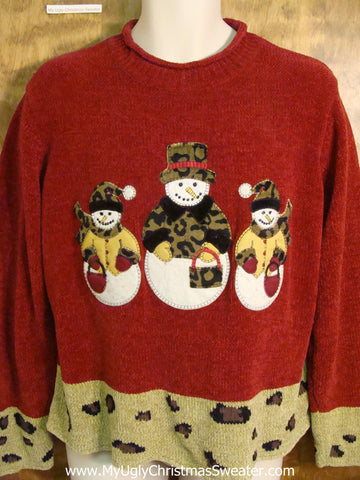 Snowmen Wearing Animal Prints Ugly Christmas Sweater