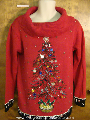 Horrible Red Bling Tree 80s Ugliest Christmas Sweater