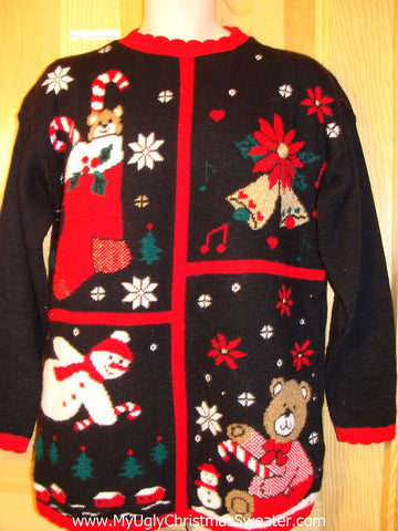 Tacky Ugly Christmas Sweater 80s with Bears and Snowman (f420)