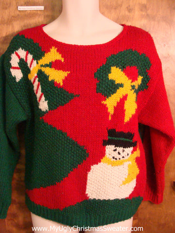 Best 80s Snowman and Candycane Ugliest Christmas Sweater