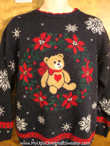 Teddy Bear 80s Fun Ugliest Christmas Sweater