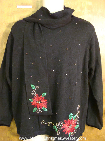 Poinsettias Ugliest Christmas Sweater with Scarf