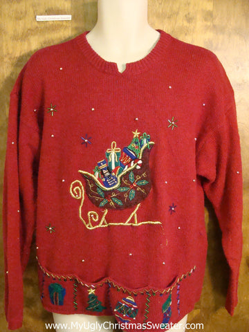Bling Sleigh Themed Red Ugliest Christmas Sweater