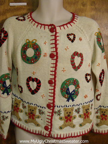 Bears and Hearts 80s 2sided Ugliest Christmas Sweater