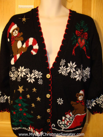 Tacky Ugly Christmas Sweater 80s Cardigan with Bear Riding a Candy Cane (f421)