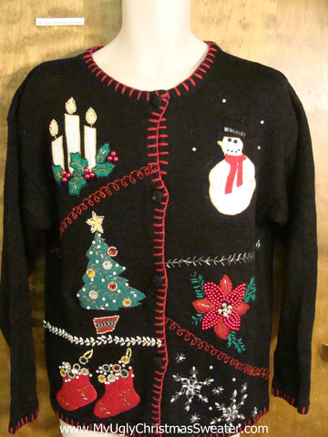 Horrible Candles, Poinsettias and Awful Decoerations Ugliest Christmas Sweater