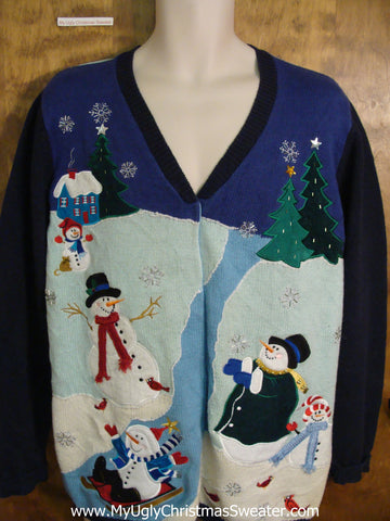 Flying Snowmen 2sided Awesome Ugliest Christmas Sweater