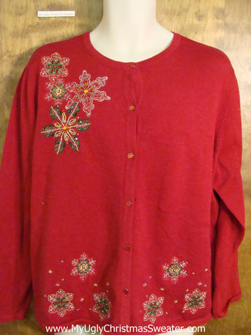Cheap Horrible Red Snowflakes Ugliest Christmas Sweater