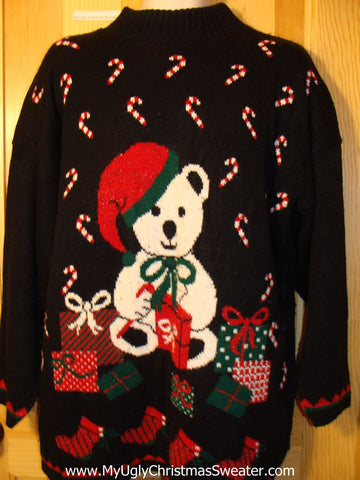Tacky Ugly Christmas Sweater 80s Acrylic Gem with Giant Bear and Candy Canes  (f422)