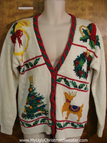 Classic 80s Reindeer and Tree Ugliest Christmas Sweater