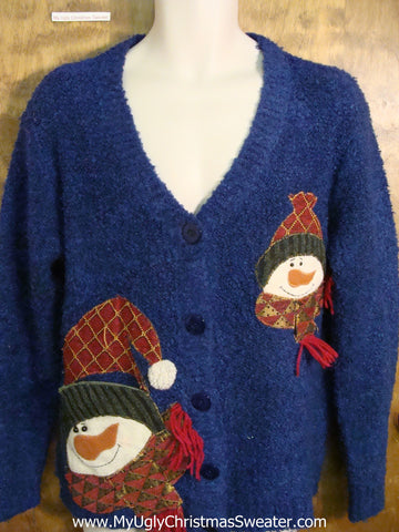 Plaid Snowman 2sided Gem Ugliest Christmas Sweater