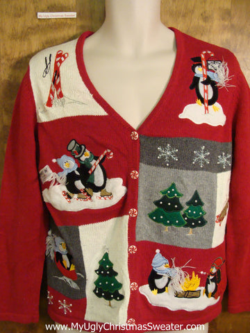 Penguins in the Winter Fun Ugliest Christmas Sweater