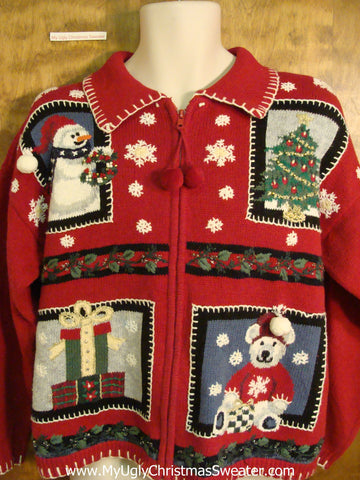 Fun 80s Red Best Ugliest Christmas Sweater