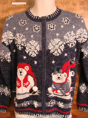 Cutest 80s Bear and Snow Christmas Sweater