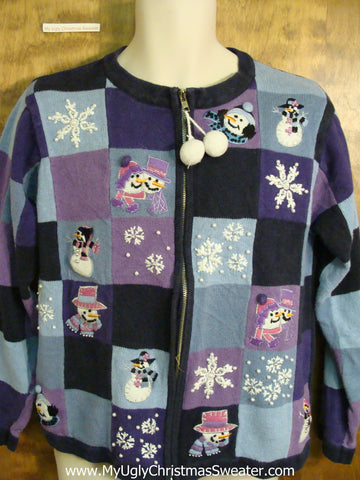 Purple and Blue Cute Tacky Christmas Sweater