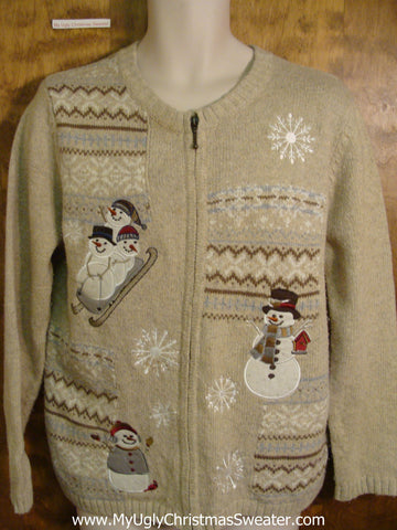 Snowmen Sledding Ugliest Christmas Sweater