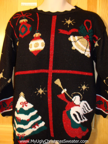 Tacky Ugly Christmas Sweater 80s Classic with Angel (f424)