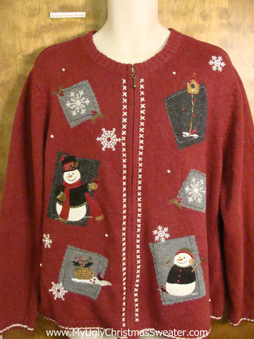 Ugliest Red Christmas Sweater with Snow and Snowman