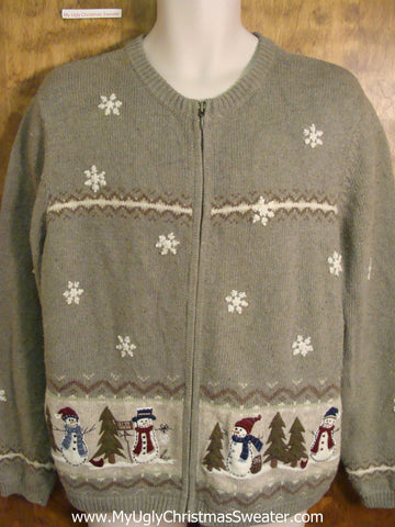 Corny Snowman and Snowflakes Ugliest Christmas Sweater